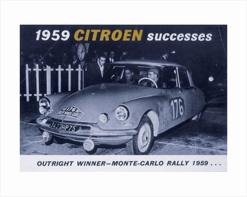 Poster advertising the Citroën Monte Carlo Rally winner by Anonymous