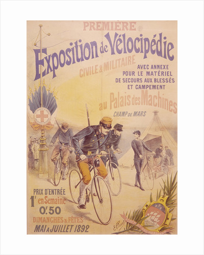 Poster advertising a bicycle exposition by E Clouet