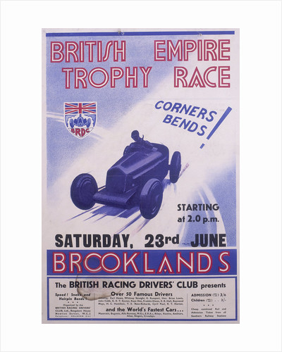 Poster advertising the British Empire Trophy Race by Anonymous