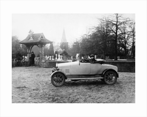 1922 11.9 hp Calcott outside a church by Anonymous