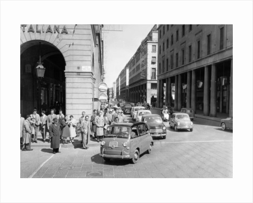 Fiat 600 Multipla leading a procession of Fiats, Italy, (late 1950s?) by Unknown