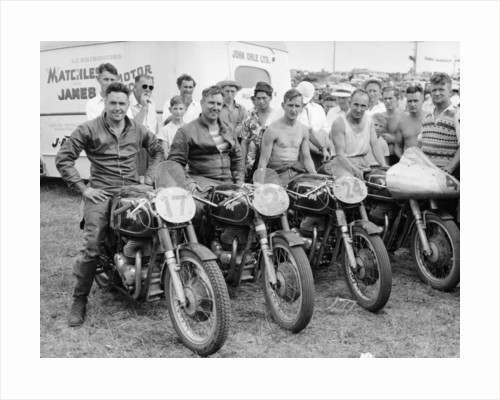 Matchless motorbike racing team by Anonymous