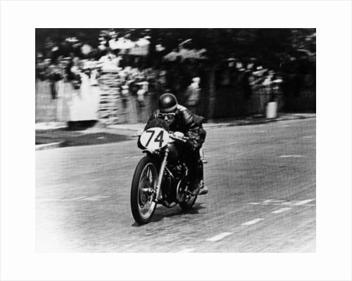 M Barrington on a Moto Guzzi bike by Anonymous