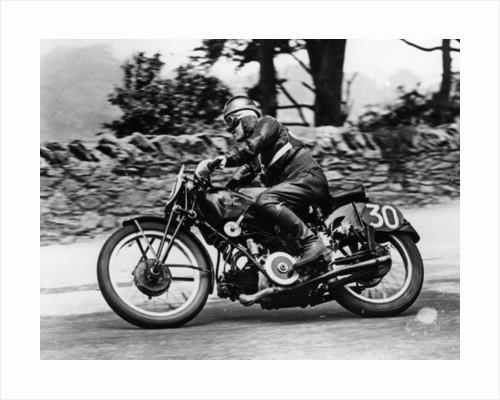 Stanley Woods on a 498cc Moto Guzzi bike by Anonymous