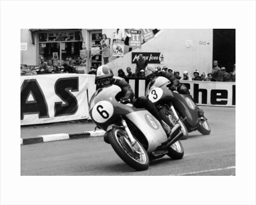 Giacomo Agostini on bike number 6, Tom Dickie on bike number 3, Isle of Man Junior TT, 1968 by Unknown