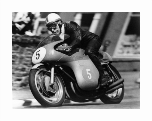 John Surtees winning the Isle of Man Junior TT, on an MV Agusta, 1959 by Unknown