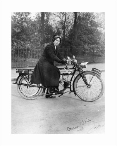 A woman on a Douglas motorbike by Anonymous