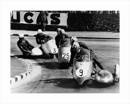 Fritz Scheidegger, Walter Schneider and Helmut Fath competing in a sidecar race by Anonymous