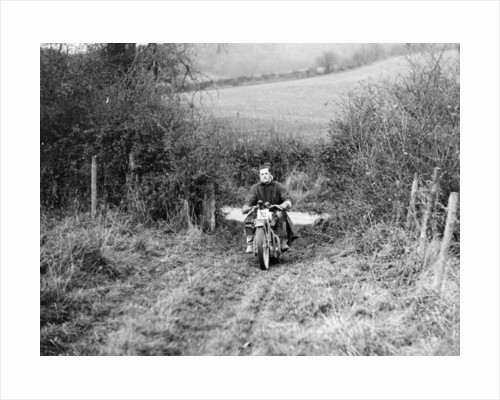 Syke riding an Ariel 4 during the Inter Varsity motor cross hill climb by Anonymous