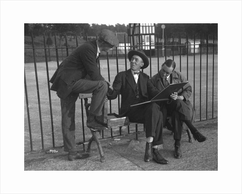 Henry Segrave, and Malcolm Campbell, with motoring artist Frederick Gordon Crosby, Brooklands by Bill Brunell