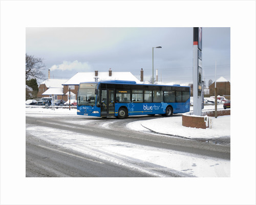 Solent Blue line Bus in snowy weather conditions by Anonymous