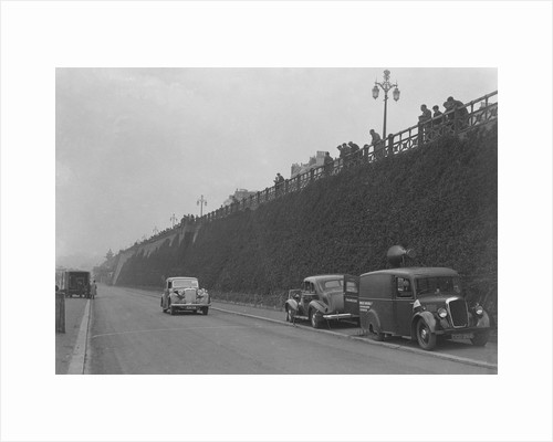 Daimler of CM Simpson and a Morris loudspeaker van on Madeira Drive, Brighton, RAC Rally, 1939 by Bill Brunell