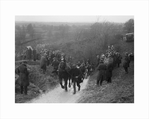 Horse towing a car up Ibberton Hill, Dorset, MCC Exeter Trial, 1930 by Bill Brunell