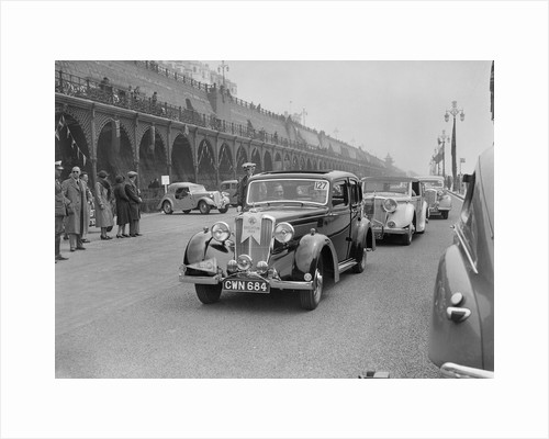 Riley 4-door saloon of AS Bassett at the RAC Rally, Madeira Drive, Brighton, 1939 by Bill Brunell