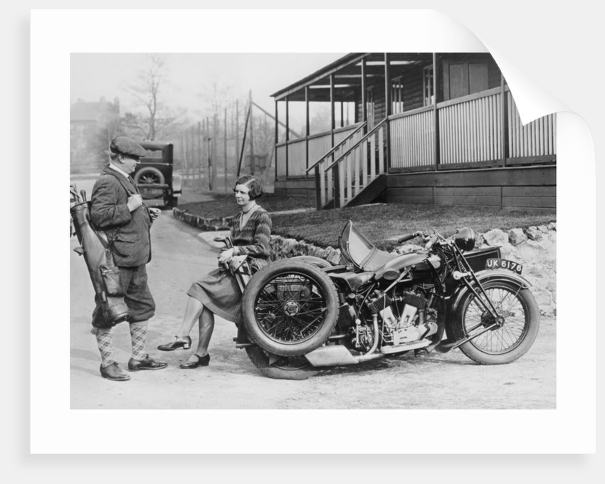 Golfers with a 1939 AJS and sidecar by Anonymous