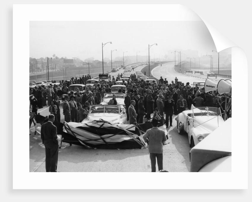 Freeway opening, possibly the Ventura Freeway in Los Angeles by Anonymous