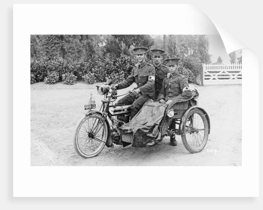Three soldiers on a bicycle and sidecar by Anonymous