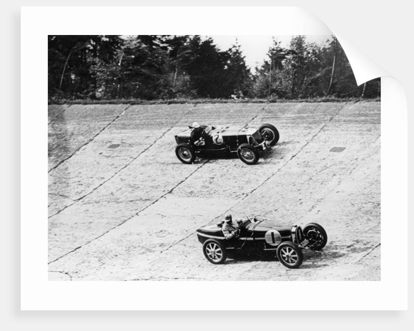 Maserati and Bugatti in action at Brooklands by Anonymous