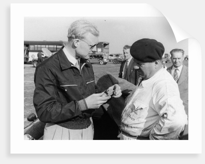 Mike Hawthorn with a model car by Anonymous