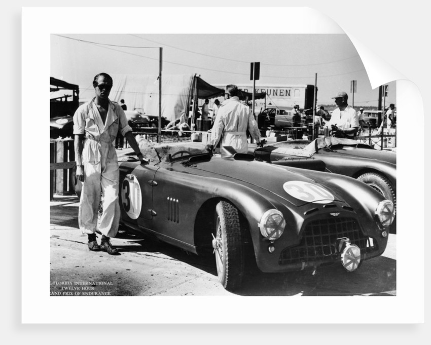 Peter Collins with an Aston Martin by Anonymous