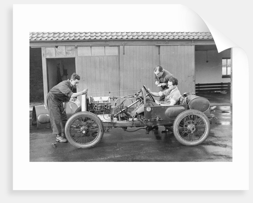 Amherst Villiers and a mechanic taking the revs of a Bugatti Cordon Rouge by Anonymous