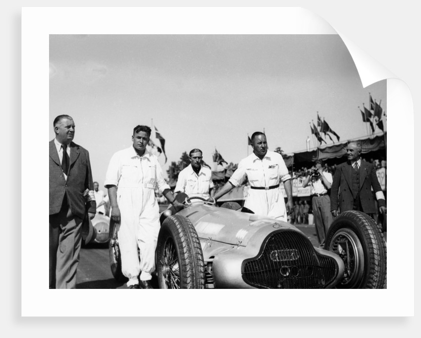 Alfred Neubauer with Mercedes car at the Start of the Italian Grand Prix, Monza, 1938 by Unknown