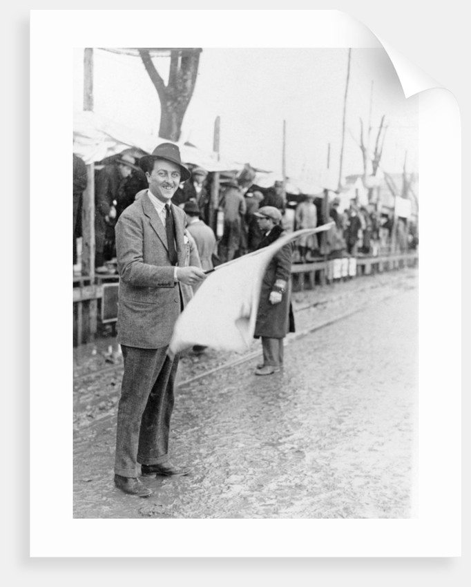 Carlo Masetti waving a flag by Unknown