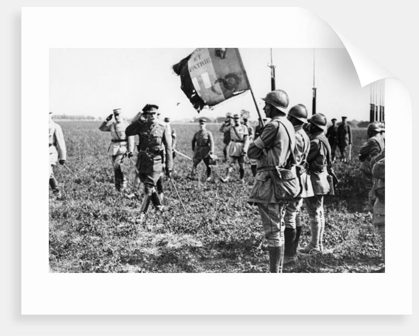 Field Marshal Sir Douglas Haig saluting an Infantry flag by Anonymous