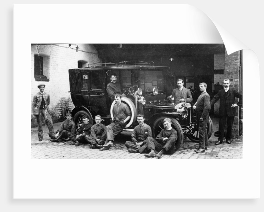 Men with a 1911 Daimler by Anonymous