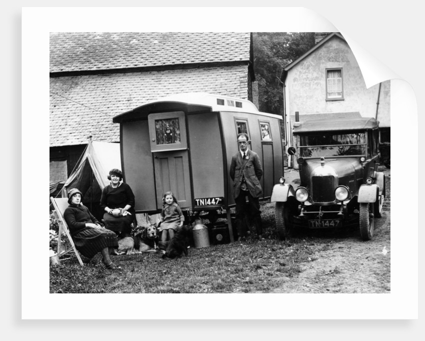 Family group with a 1925 Morris Oxford 14/28 and caravan by Anonymous