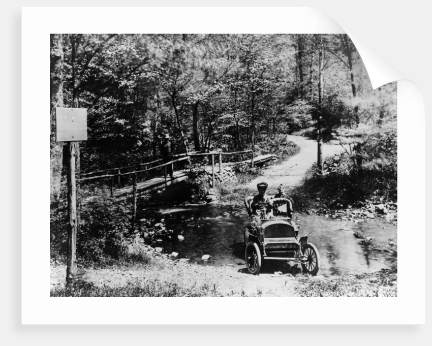 1905 Franklin car fording a river by Anonymous
