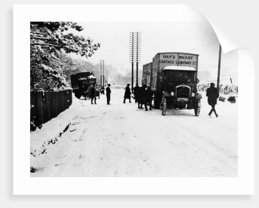 A Hay's Wharf Cartage Company Ltd van along a snowy A30 by Anonymous