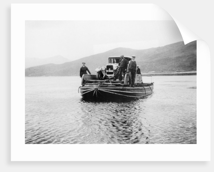 An early ferry transporting a car across a lake by Unknown