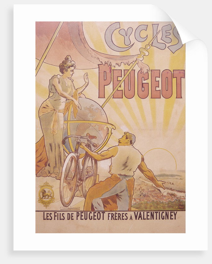 Poster advertising Peugeot bicycles by E Vavasseur