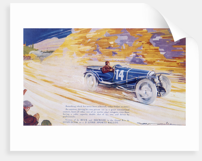 Poster advertising a Ballot 2 litre sports car by Unknown