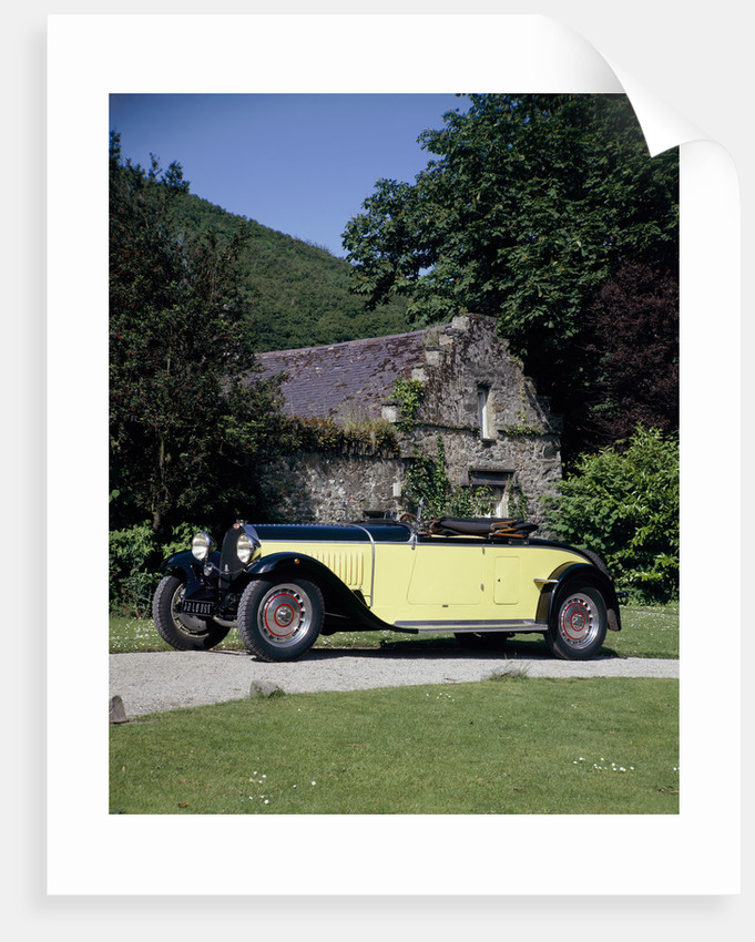 A 1934 Bugatti Type 46 outside a cottage by Unknown