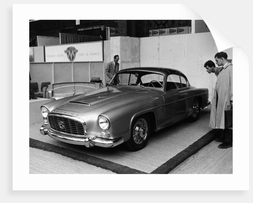 A 1956 Grégoire 2.1 litre coupé on a stand at a show by Anonymous