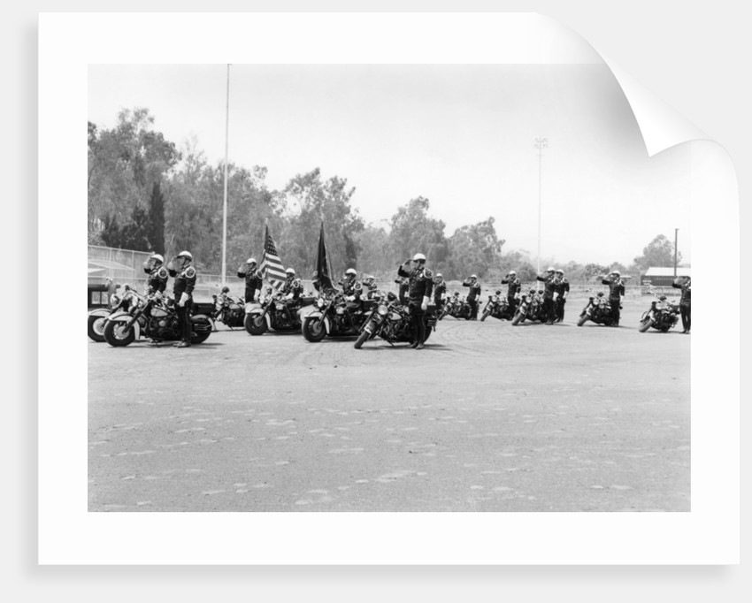 A police patrol with their Harley-Davidsons by Anonymous