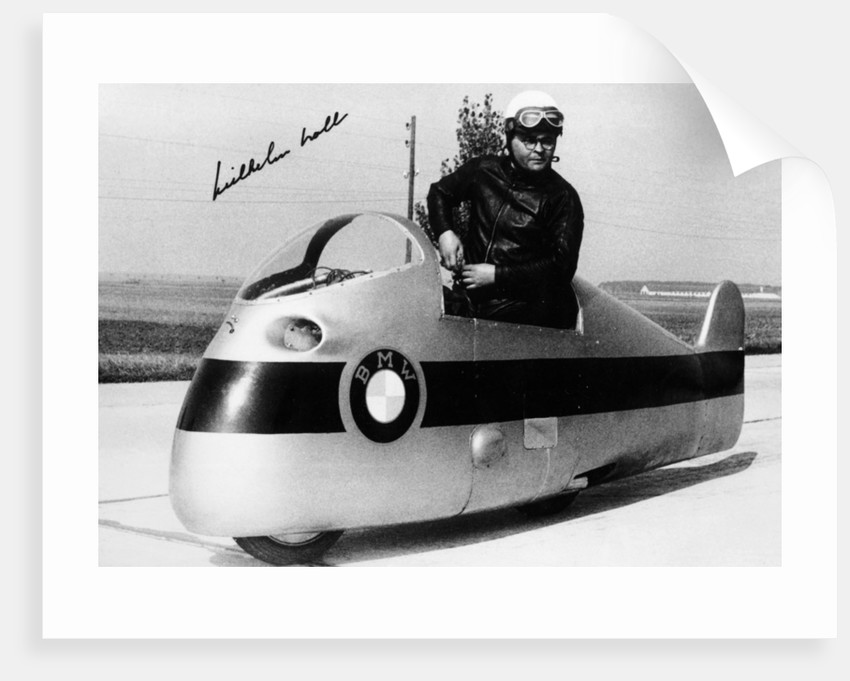 Wilhelm Noll on a 500cc BMW motorcycle, 1955 by Unknown