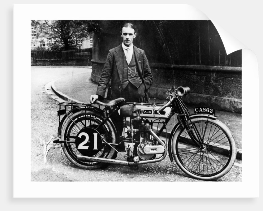 Billy Jones with an AJS motorbike by Anonymous