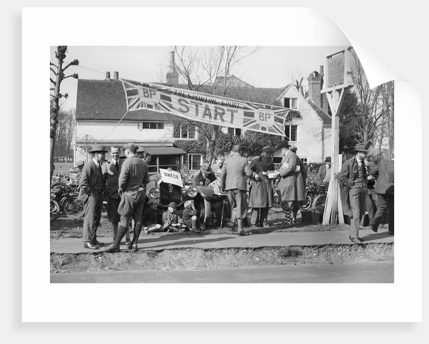 Start line for the Surbiton Motor Club Grand Cup, the Talbot Hotel, Ripley, Surrey, 1929 by Bill Brunell