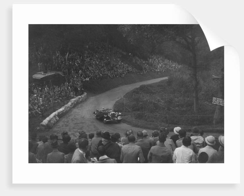Unidentified open 4-seater car competing in the Shelsley Walsh Hillclimb, Worcestershire, 1935 by Bill Brunell