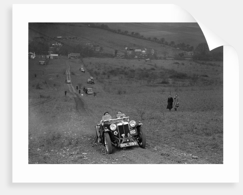 MG PA competing in the London Motor Club Coventry Cup Trial, Knatts Hill, Kent, 1938 by Bill Brunell