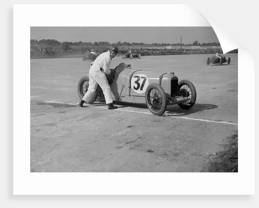 Charles Martin restarting his Amilcar after skidding, JCC 200 Mile Race, Brooklands, 1926 by Bill Brunell
