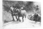 Horses pulling an MG up a hill by Anonymous