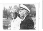 Sir Malcolm Campbell, on the left, possibly at Coniston, 1939 by Unknown