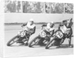 Competitors in a dirt track race by Anonymous