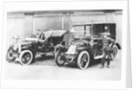 Chauffeurs with a 1906 Daimler and Renault by Anonymous