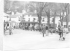 Pedestrians and riders outside the Burford Bridge Hotel by Anonymous