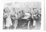 A 1904 Wolseley amidst a crowd of cheering people by Anonymous